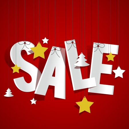 bomb price: Sale hanging with stars and christmas trees vector illustration