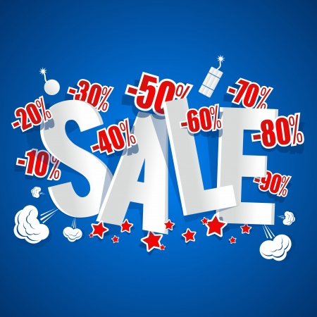Explosive Sale on blue background vector illustration Ilustrace