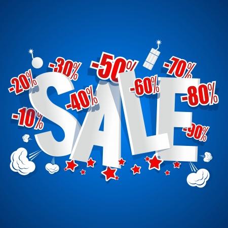 Explosive Sale on blue background vector illustration Illustration