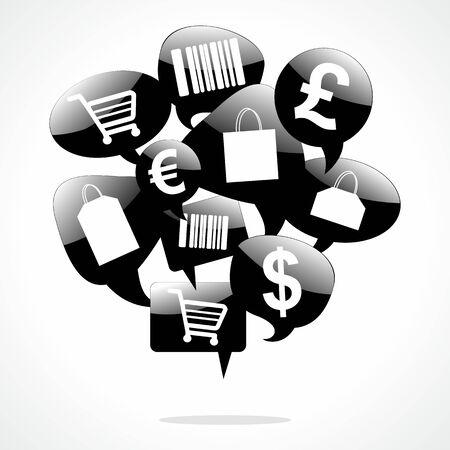 Shopping Speech Bubbles vector illustration Stock Vector - 22526805
