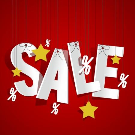Hanging Sale on background vector illustration