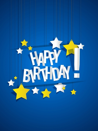 cake paper: Happy Birthday card with hanging stars vector illustration