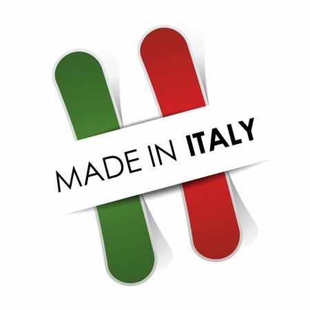 bandiera italiana: Fatto in Italia illustrazione vettoriale Vettoriali