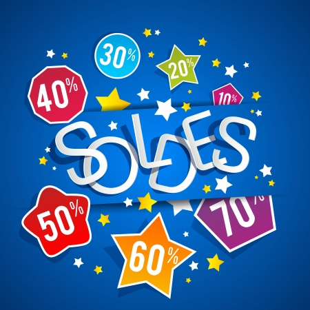 Sale on blue background vector illustration