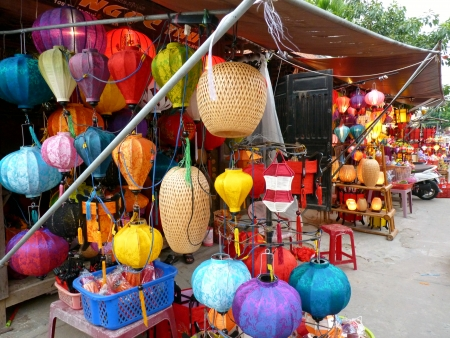 Lantern Shops in Hoi An, Vietnam Standard-Bild