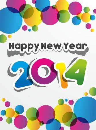幸せな新年 2014年ベクトル イラスト