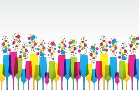 Creatieve Gekleurde Mix Champaign Glas vectorillustratie