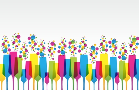 Creative Coloured Mix Champaign Glass vector illustration