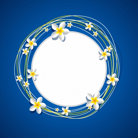 Frangipani Flowers Frame on blue background vector illustration Vector