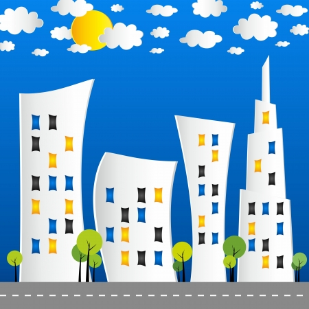 clouds scape: Creative abstract city street vector illustration