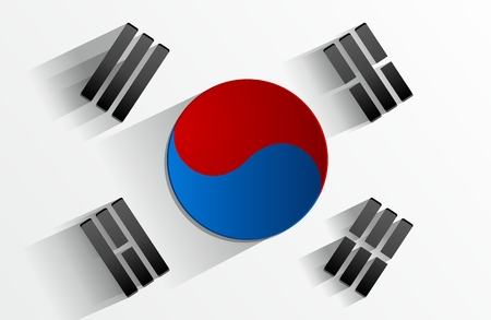 korean national: Creative Abstract Flag of South Korea Backgroung Illustration