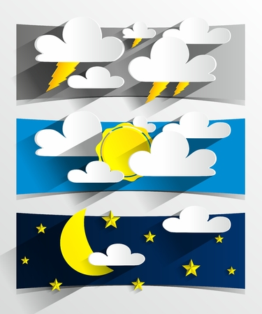 Creative 3D Cartoon Weather Banners vector illustration Vector
