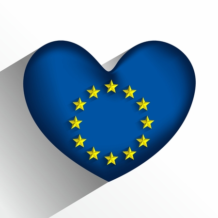 Creative Abstract European Union Heart Flag vector illustration Vector