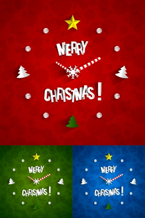 watch face: Creative Abstract Christmas Clock with transparent shadows vector illustration
