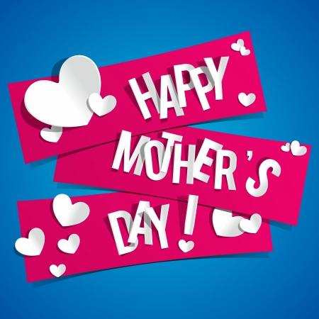 創造的な幸せな母 s 心にリボンの日カード ベクトル イラスト