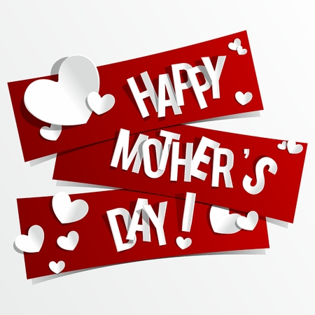 s day: Creative Happy Mother s Day Card with Hearts On Ribbons vector illustration