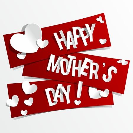 mummie: Creative Happy Mother s kaart met hartjes op linten Day vector illustratie
