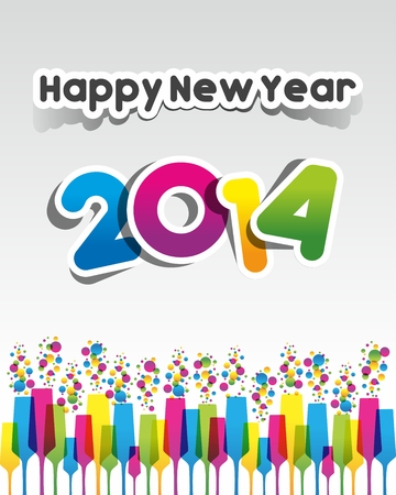 Colorful Abstract Happy New Year 2014 Card vector illustration Vector
