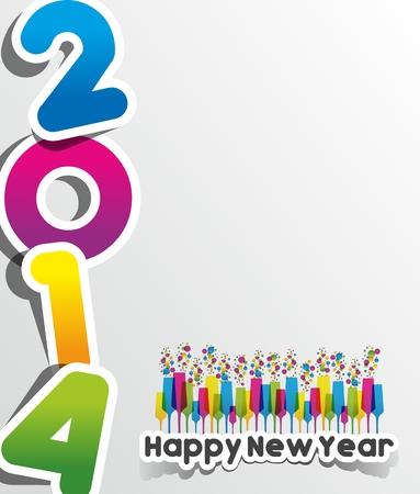 Colorful Abstract Happy New Year 2014 Card vector illustration