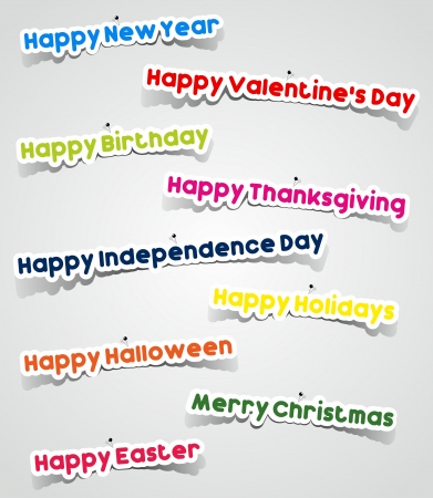 Important Events In A Year Stickers With Needles vector illustration Çizim