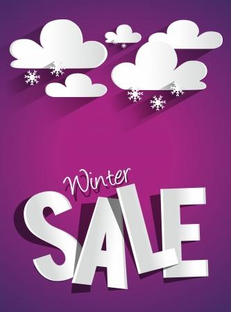 ハード割引冬販売と雲と雪ベクトル イラスト