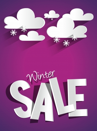Hard Discount Winter Sale With Clouds And Snowflakes vector illustration