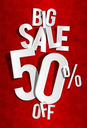 spring sale: Creative Big Sale On Red Background vector illustration Illustration