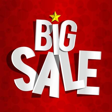 big business: Venta de Big creativo sobre fondo rojo de la ilustraci�n vectorial