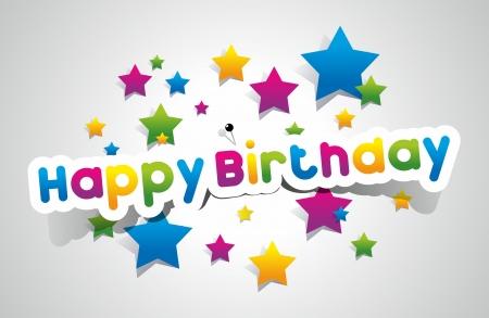 happiness: Feliz cumpleaños tarjetas de colores sobre fondo gradiente ilustración vectorial