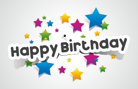 Happy Birthday coloured card on gradient background vector illustration