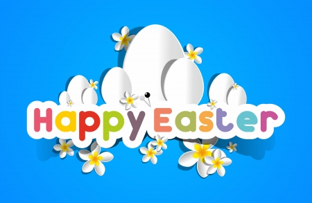 happy family garden: Happy Easter Card With Eggs And Spring Flowers vector illustration Illustration