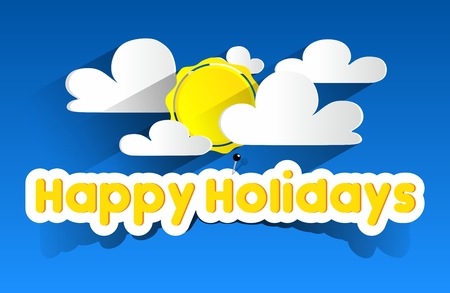 Happy Summer Holidays With Sun And Clouds On Blue Background vector illustration Vector