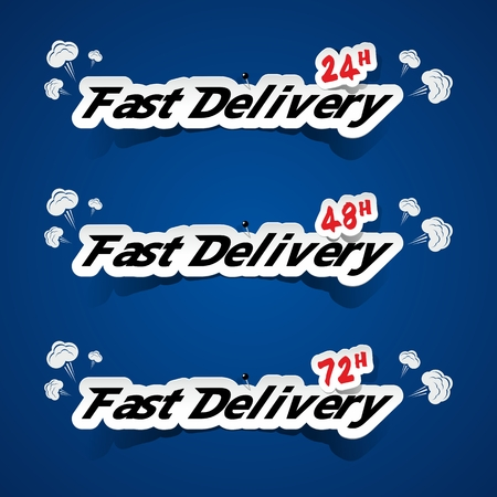 Creative Fast Delivery Banners With Smoke On Blue Background vector illustration Vector
