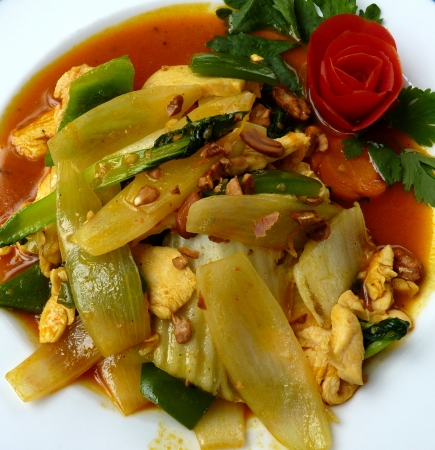 Delicious Vietnamese Chicken With Vegetables And Cashew Nut Sauce photo