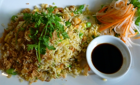 Delicious Vietnamese Stir-Fried Rice With Vegetables photo