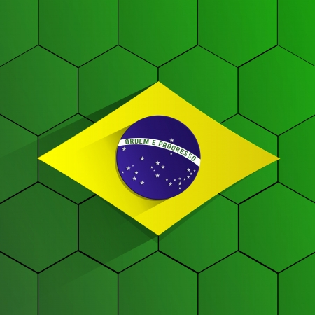 Abstract Brazil Football Team Flag vector illustration Vector