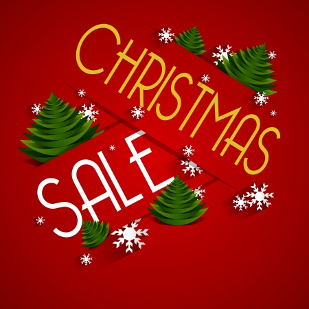 Christmas Sale on red background vector illustration Vector