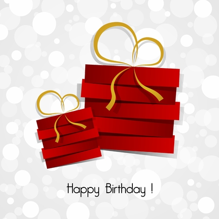 Happy Birthday Card With red Gifts And Gold Ribbons vector illustration Çizim