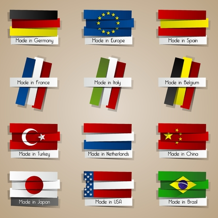 made in china: Different Creative Abstract Countries Made In Badges With Flags vector illustration