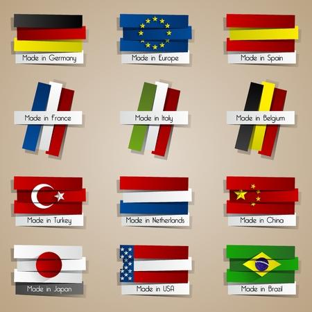 gemaakt: Verschillende Creative Abstract Landen Made In badges met Vlaggen vectorillustratie