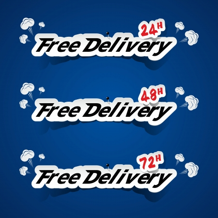 Creative Free Delivery Banners With Smoke On Blue Background vector illustration Vector