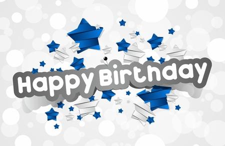 幸せな誕生日カードと青と銀星ベクトル イラスト  イラスト・ベクター素材