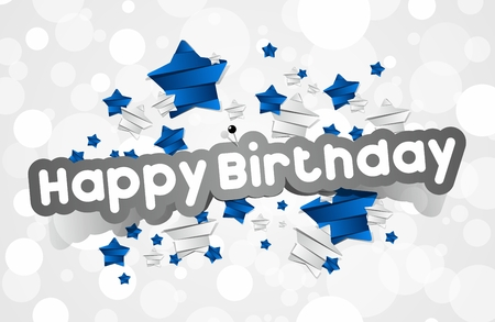 Happy Birthday Card With Blue and Silver Stars vector illustration