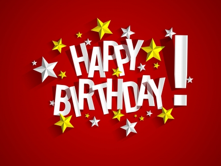 happiness: Happy Birthday Card With Stars vector illustration