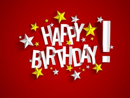 urodziny: Szczęśliwy kartka urodzinowa z ilustracji wektorowych gwiazdy