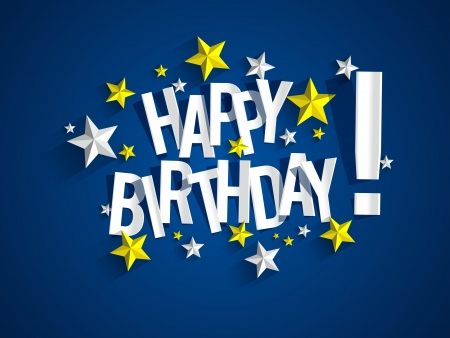 birthday card: Happy Birthday Card With Stars vector illustration