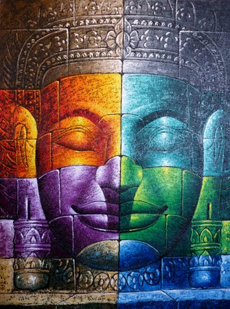 Colored Cambodian Buddha Face Picture Close Up photo