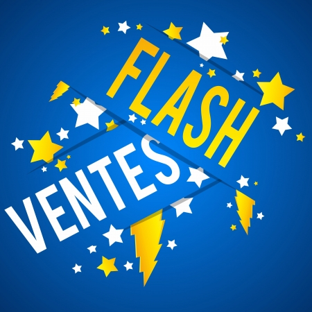 Flash Sale With Thunder and Stars on Blue Background vector illustration