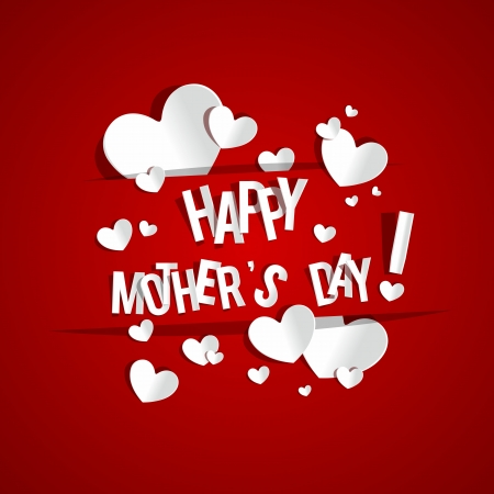 Creative Happy Mothers Day Card with Hearts vector illustration Vector