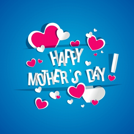 Creative Happy Mother's Day Card with Hearts vector illustration